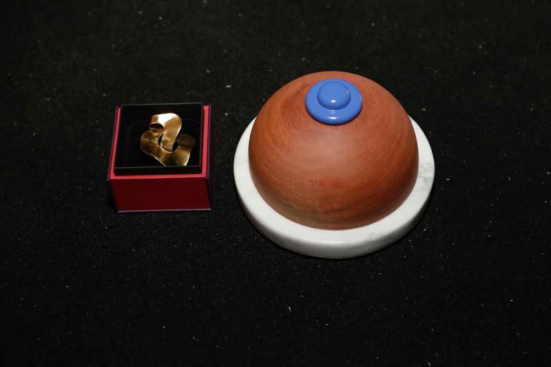 O anel Ella, by Beatriz Brennheinsein, e o troféu em forma de seio, criado pelo Estúdio Pum
